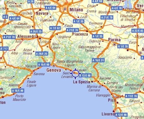 Liguria Di Levante Cartina.Dove Siamo Come Raggiungerci Camping La Pineta
